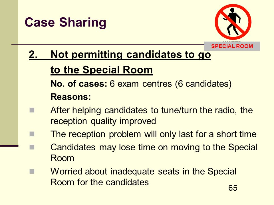 Case Sharing 2. Not permitting candidates to go to the Special Room