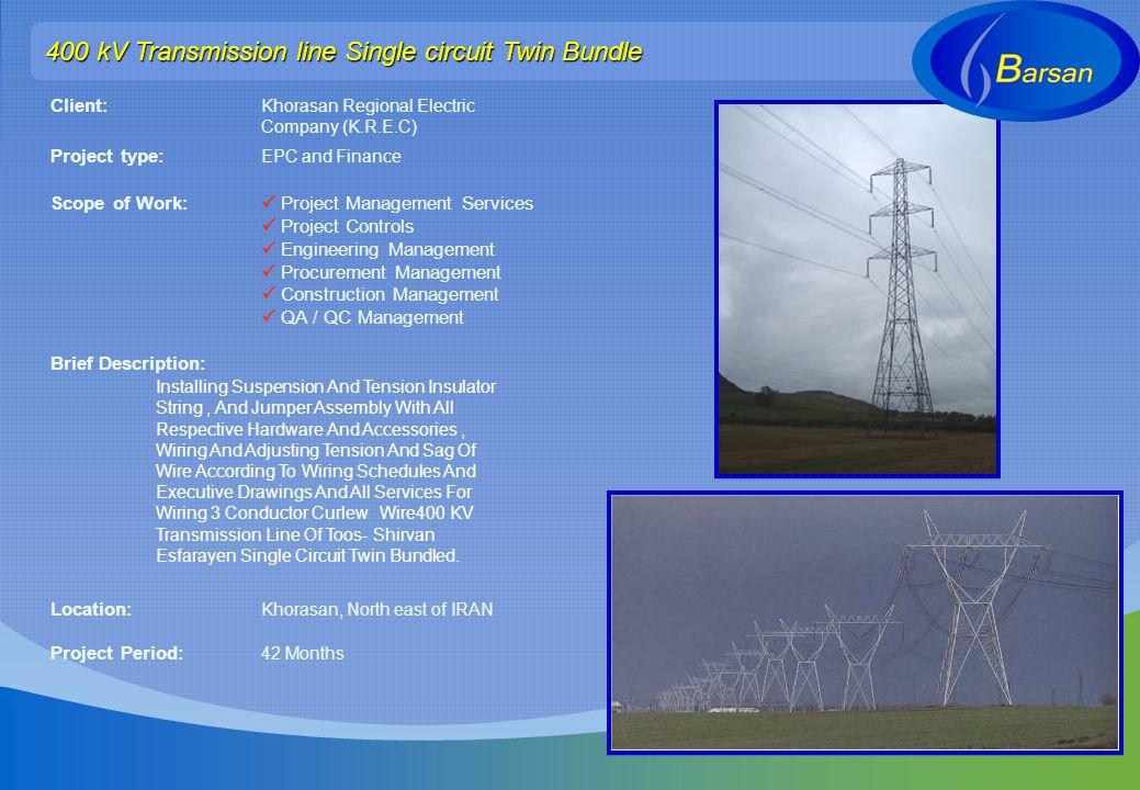 400 kV Transmission line Single circuit Twin Bundle