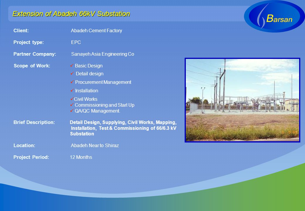Extension of Abadeh 66kV Substation