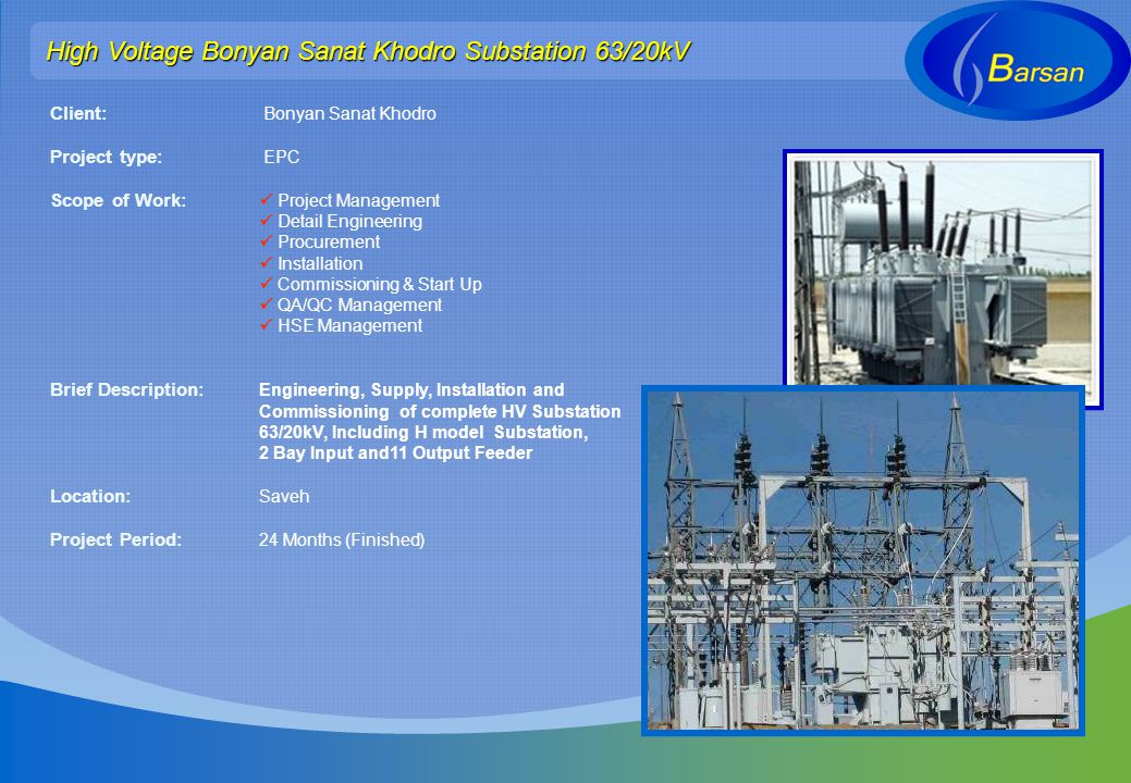 High Voltage Bonyan Sanat Khodro Substation 63/20kV