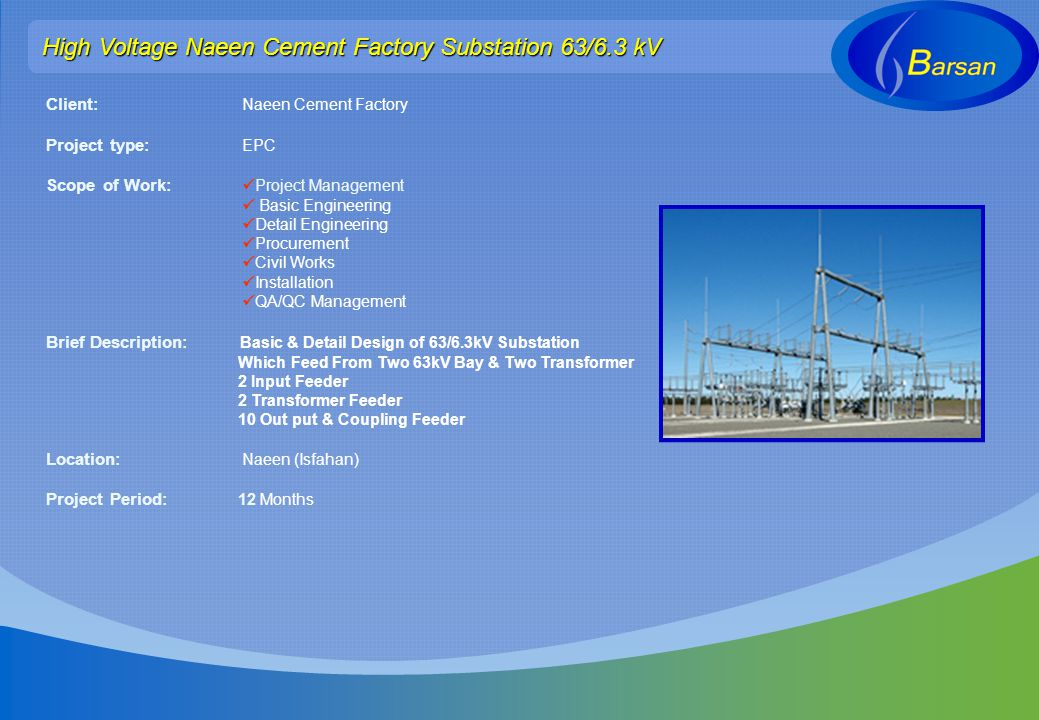 High Voltage Naeen Cement Factory Substation 63/6.3 kV