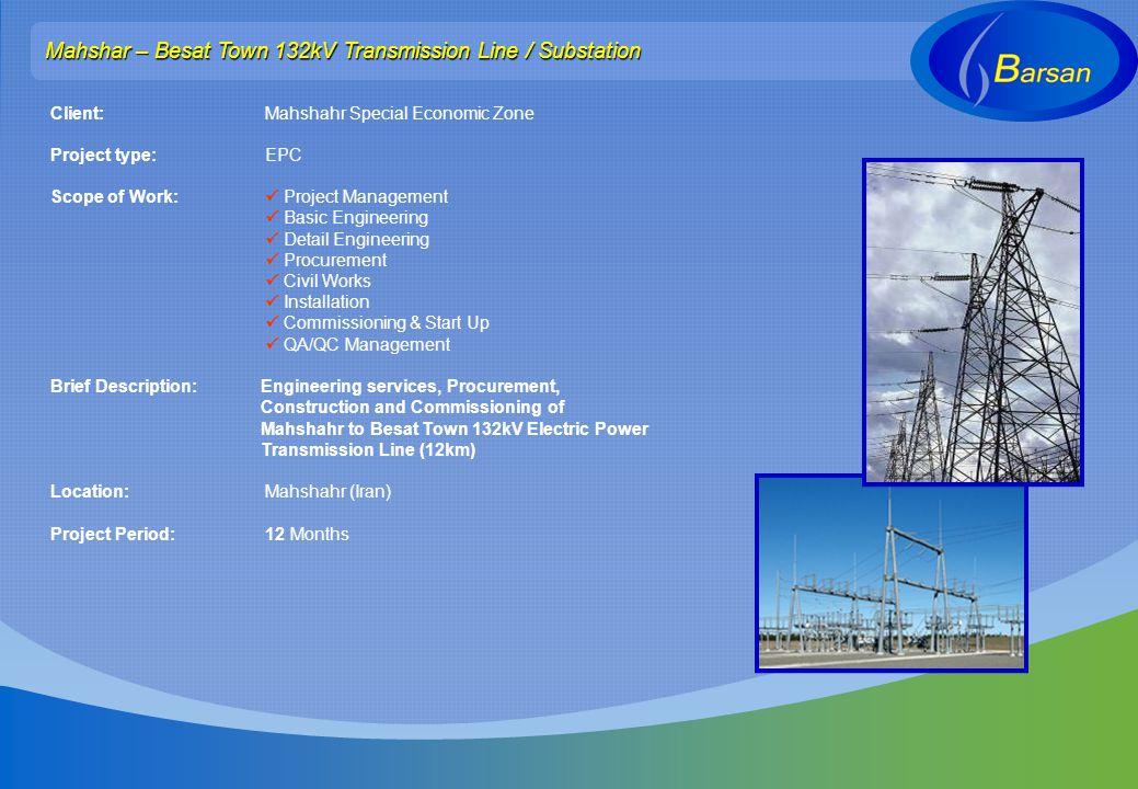 Mahshar – Besat Town 132kV Transmission Line / Substation