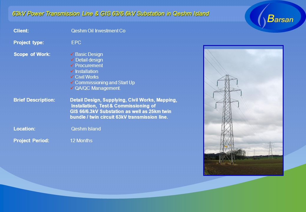 63kV Power Transmission Line & GIS 63/6.6kV Substation in Qeshm Island