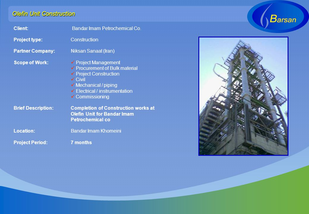 Olefin Unit Construction