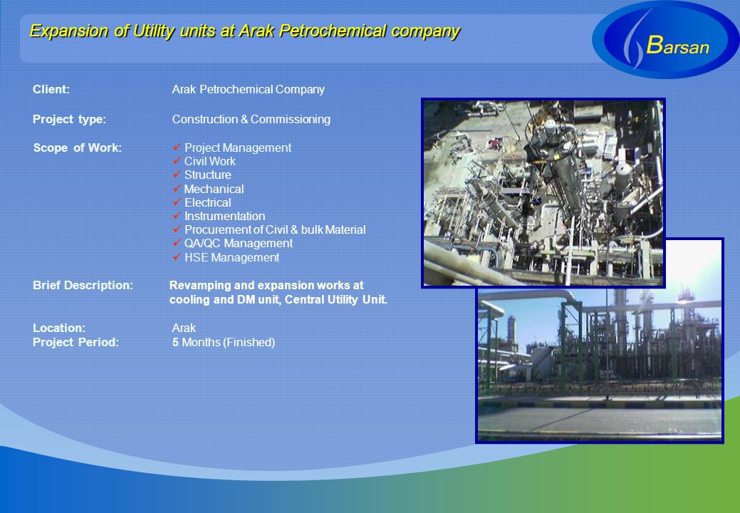 Expansion of Utility units at Arak Petrochemical company