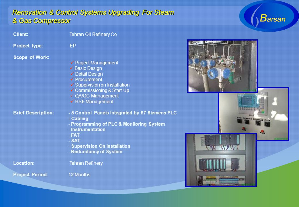 Renovation & Control Systems Upgrading For Steam & Gas Compressor