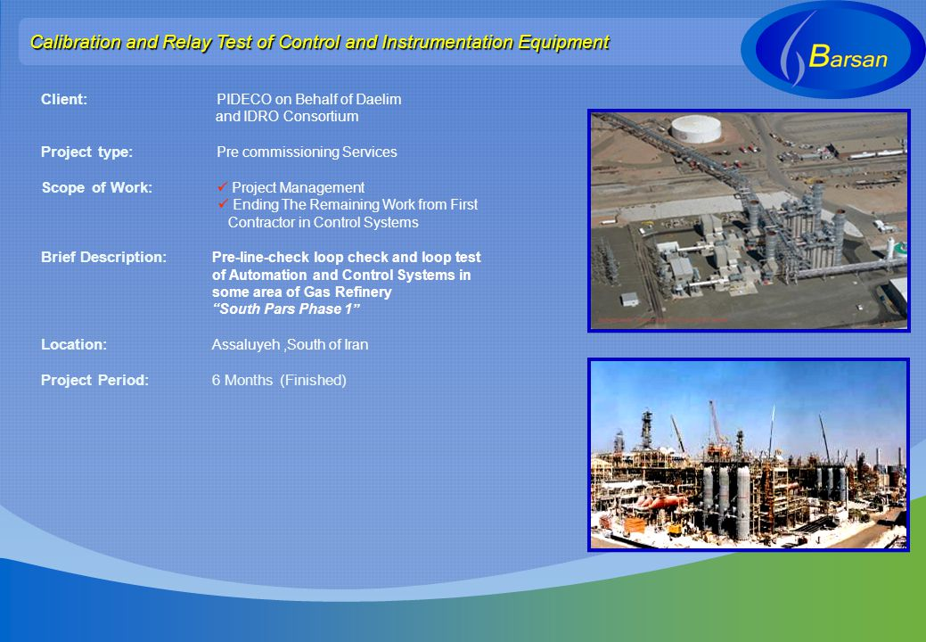 Calibration and Relay Test of Control and Instrumentation Equipment