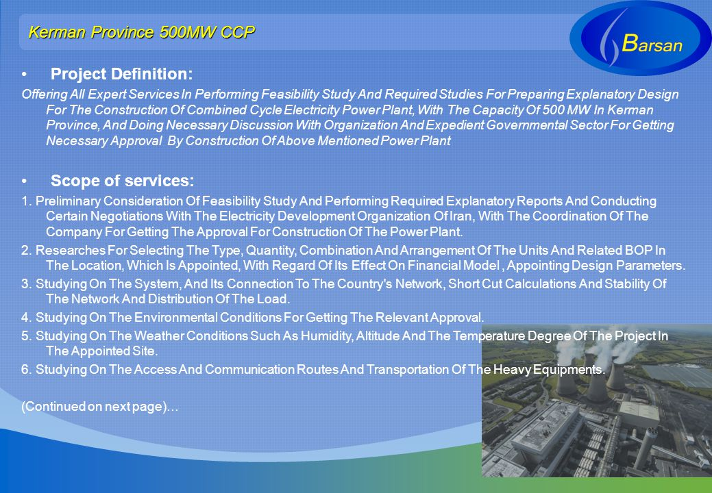 Kerman Province 500MW CCP Project Definition: Scope of services:
