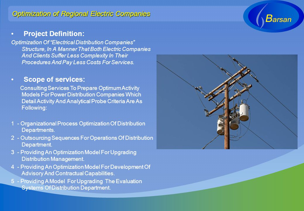 Optimization of Regional Electric Companies