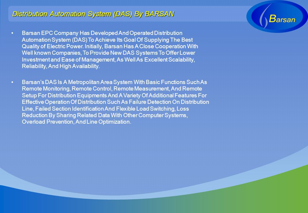 Distribution Automation System (DAS) By BARSAN