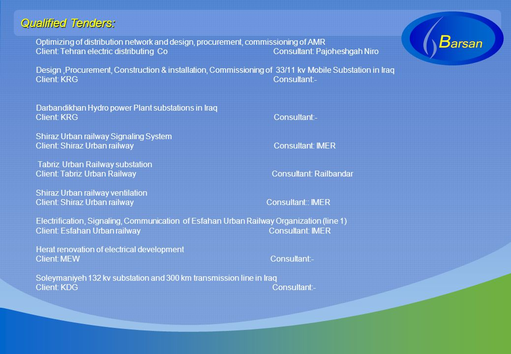 Qualified Tenders: Optimizing of distribution network and design, procurement, commissioning of AMR.