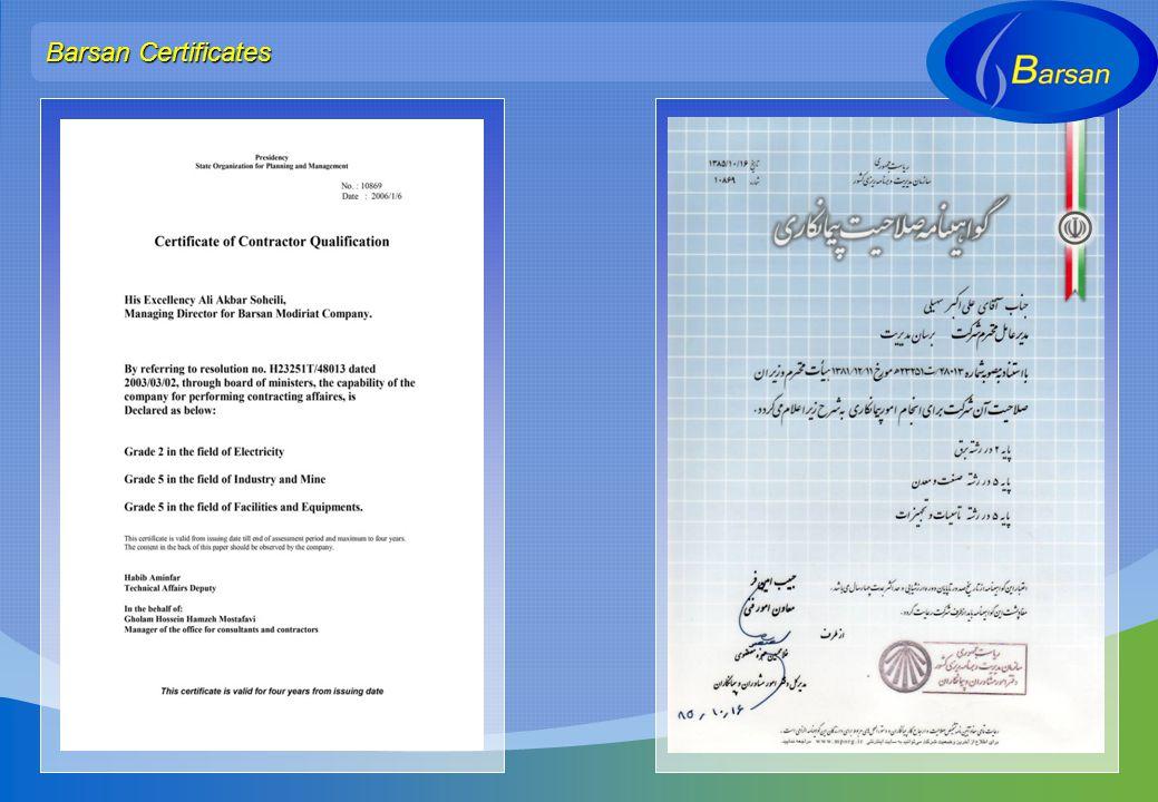 Barsan Certificates