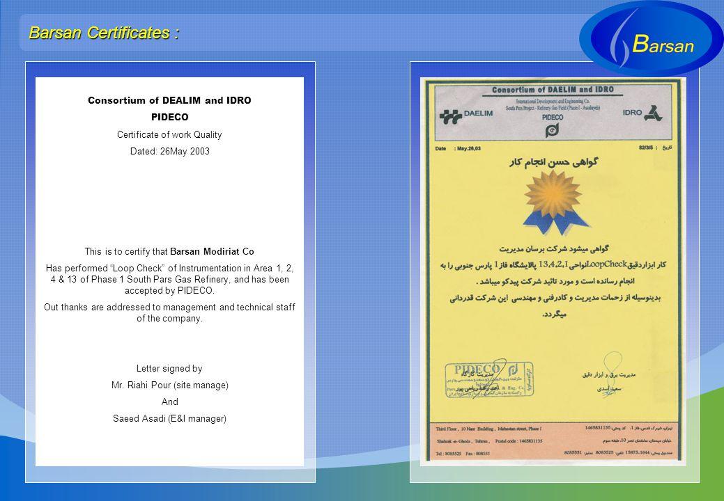 Barsan Certificates : Consortium of DEALIM and IDRO PIDECO