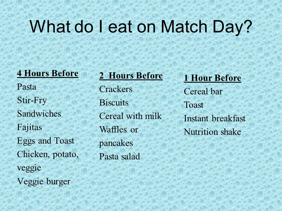 What do I eat on Match Day