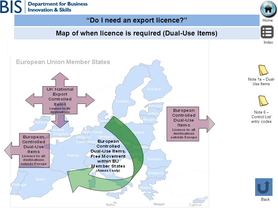 Map of when licence is required (Dual-Use Items)