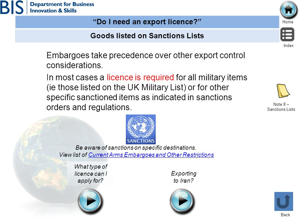 Goods listed on Sanctions Lists