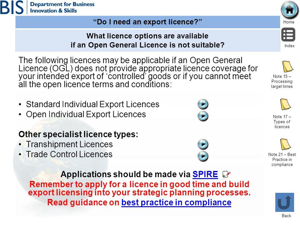 Standard Individual Export Licences Open Individual Export Licences