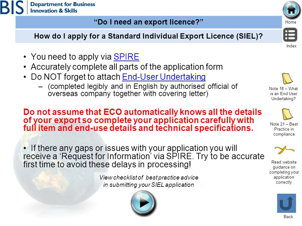 How do I apply for a Standard Individual Export Licence (SIEL)