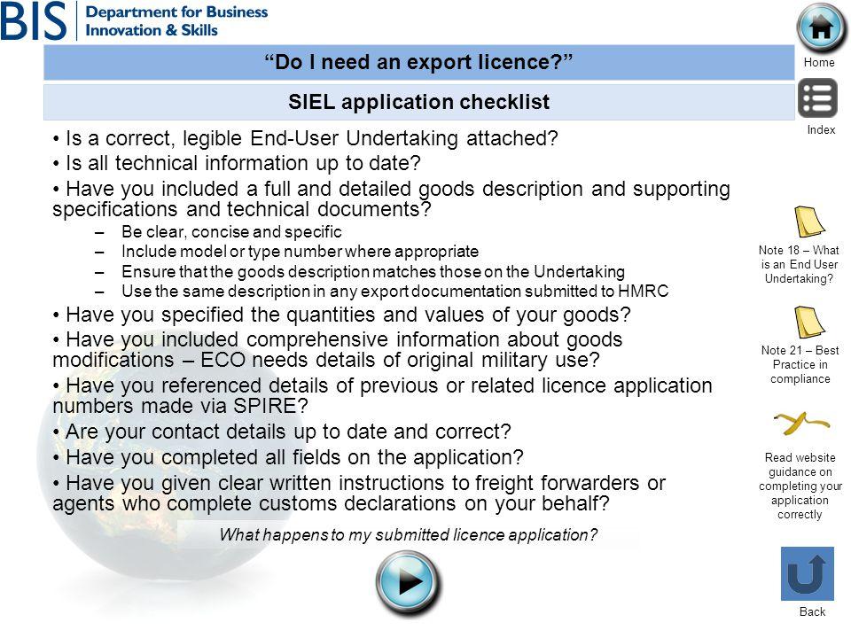 SIEL application checklist