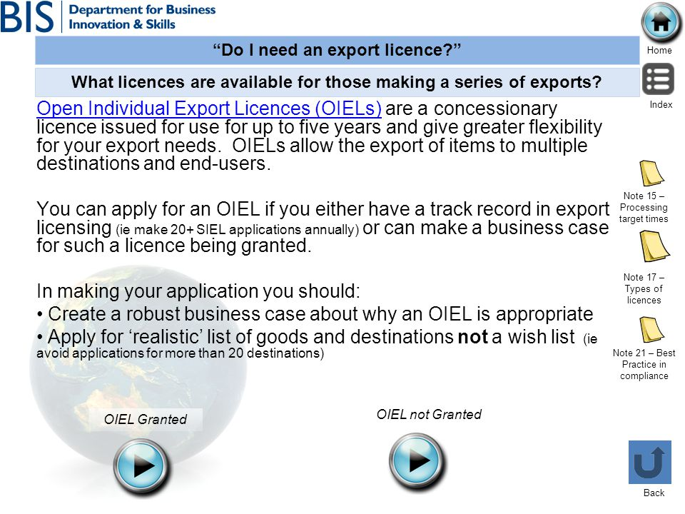 What licences are available for those making a series of exports