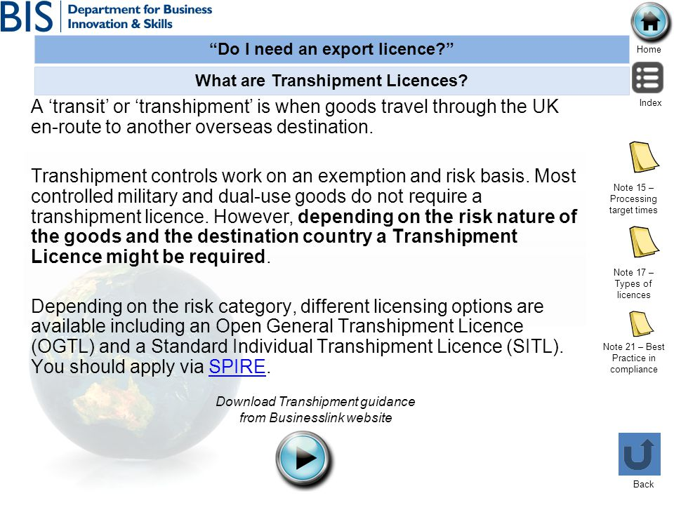 What are Transhipment Licences