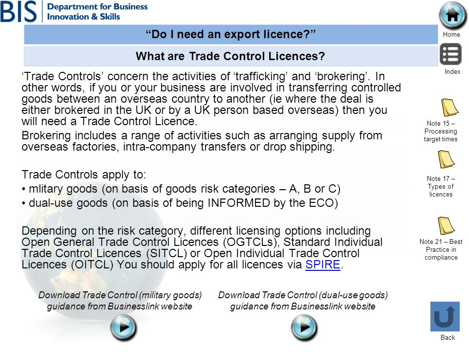 What are Trade Control Licences