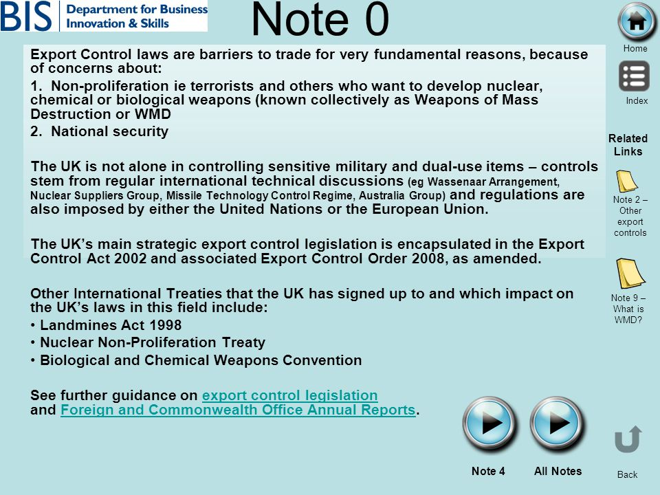 Note 2 – Other export controls