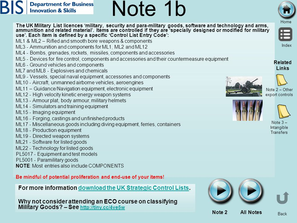 Note 1b For more information download the UK Strategic Control Lists.