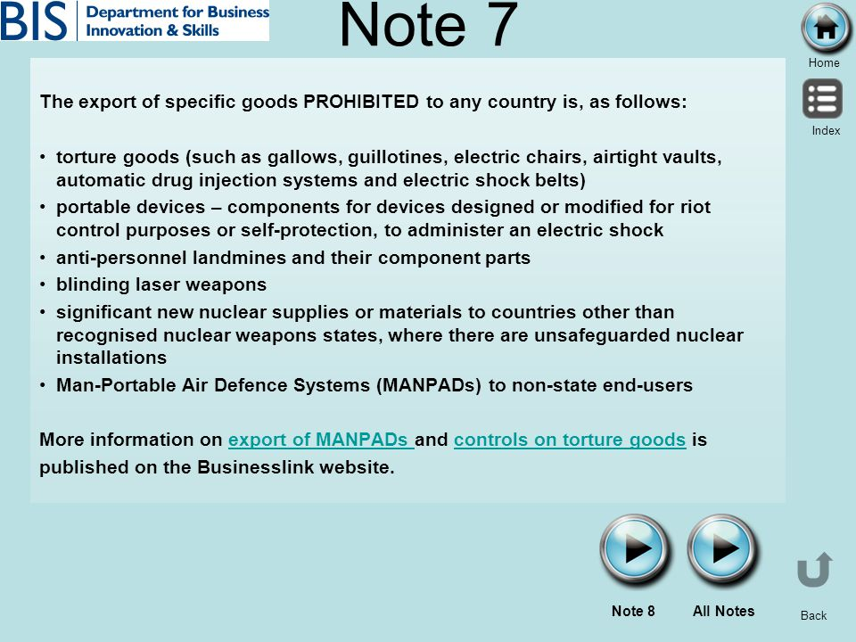 Note 7 The export of specific goods PROHIBITED to any country is, as follows:
