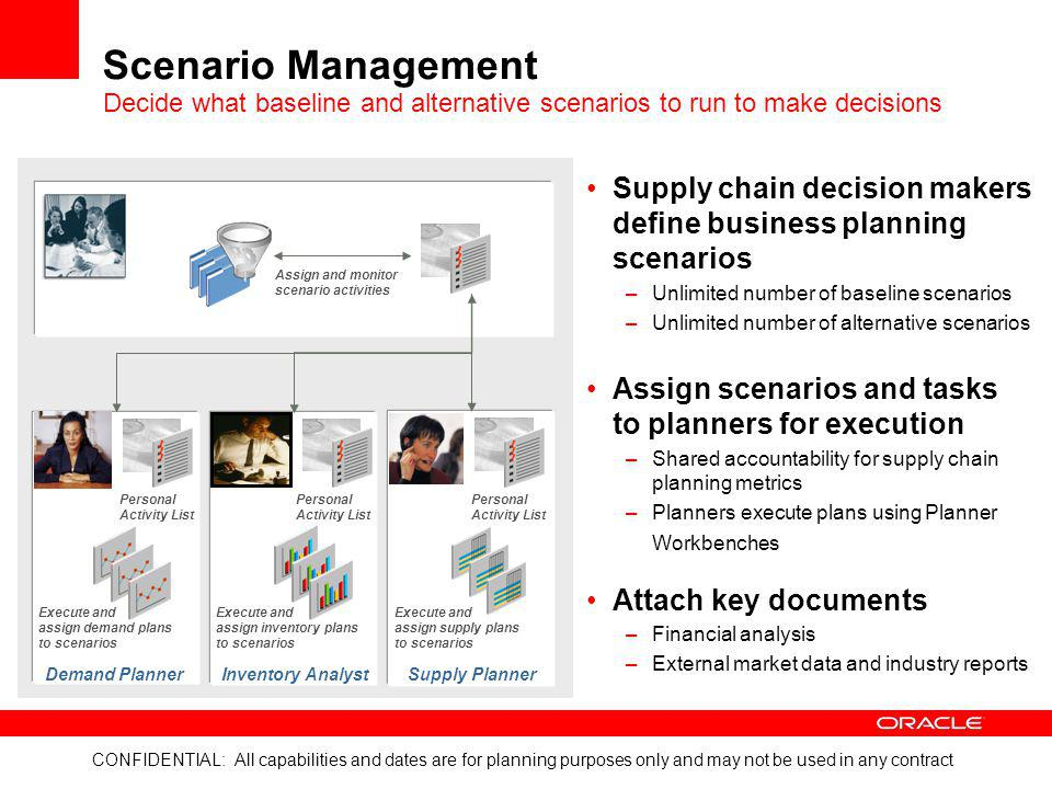 Scenario Management Decide what baseline and alternative scenarios to run to make decisions.