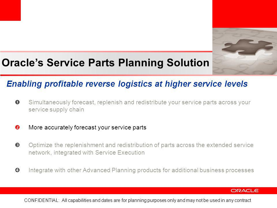 Oracle's Service Parts Planning Solution