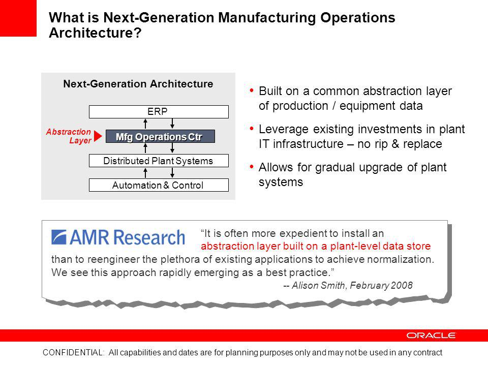 What is Next-Generation Manufacturing Operations Architecture