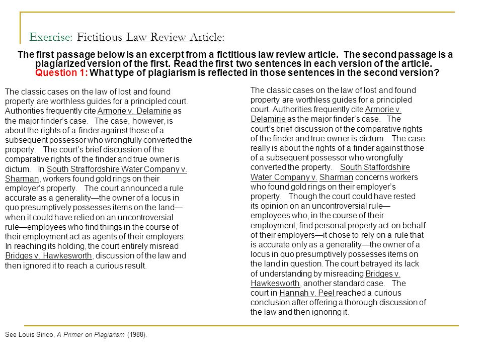 Exercise: Fictitious Law Review Article: