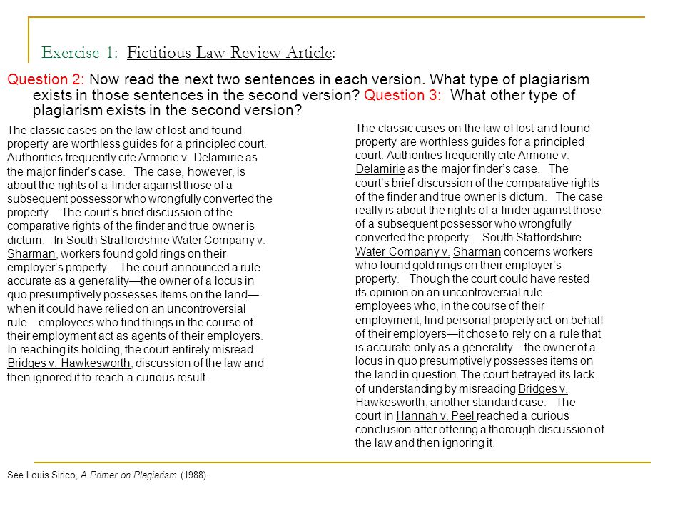 Exercise 1: Fictitious Law Review Article: