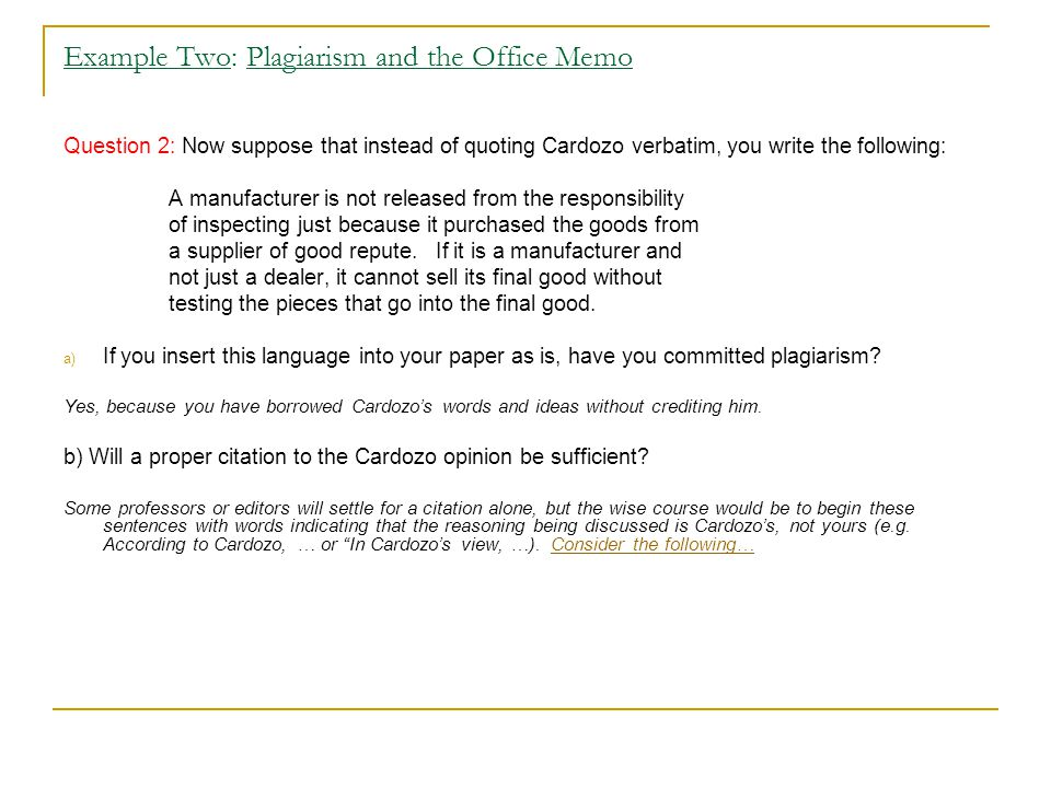 Example Two: Plagiarism and the Office Memo