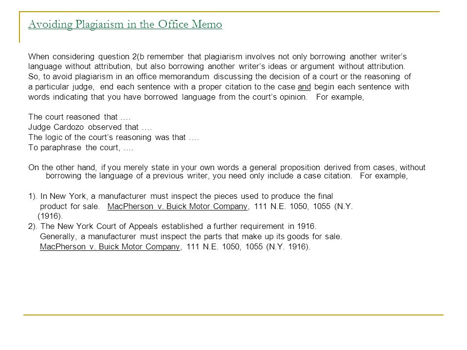 Avoiding Plagiarism in the Office Memo