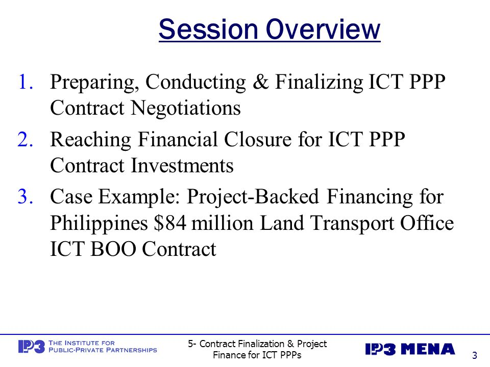 5- Contract Finalization & Project Finance for ICT PPPs