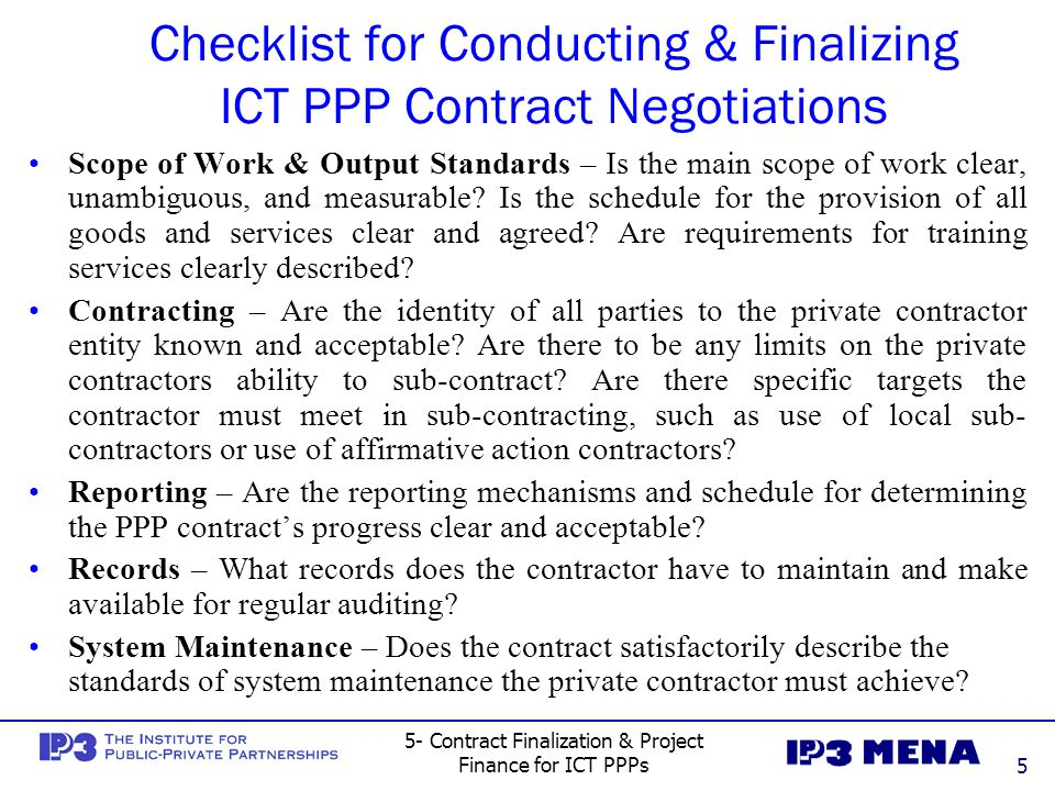 Checklist for Conducting & Finalizing ICT PPP Contract Negotiations