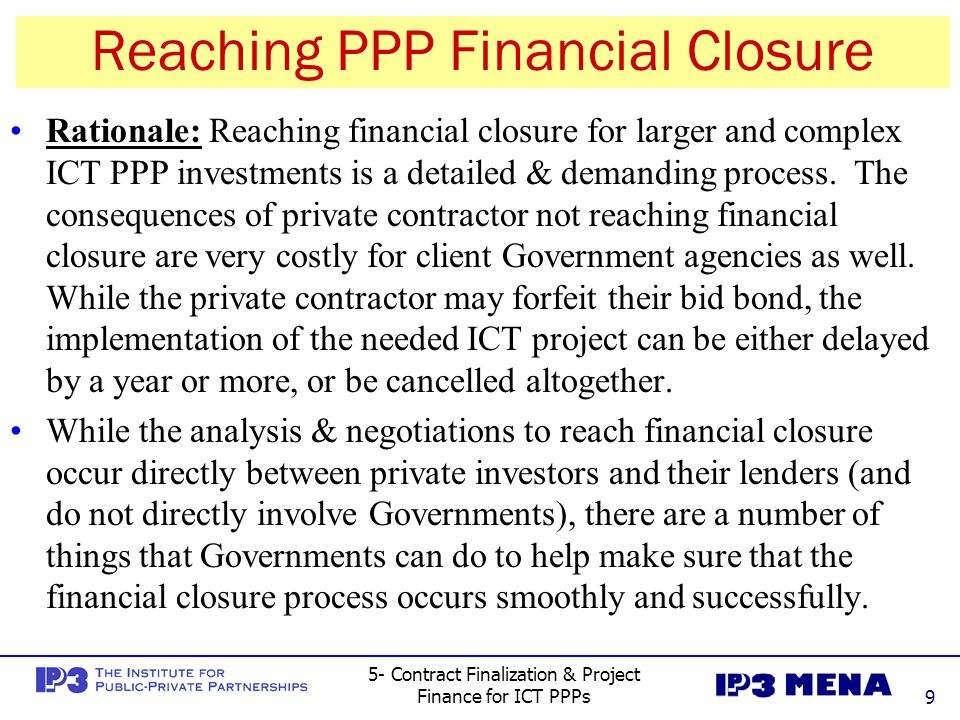 Reaching PPP Financial Closure