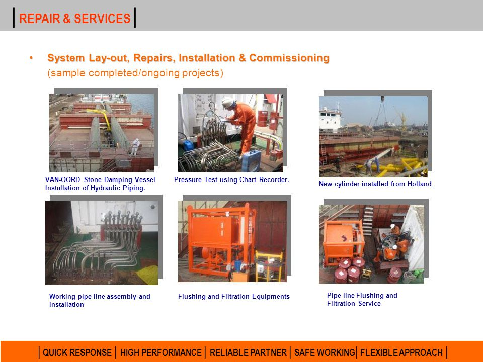 | REPAIR & SERVICES | System Lay-out, Repairs, Installation & Commissioning. (sample completed/ongoing projects)