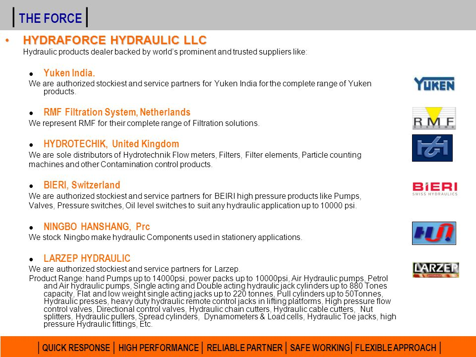 | THE FORCE | HYDRAFORCE HYDRAULIC LLC. Hydraulic products dealer backed by world's prominent and trusted suppliers like: