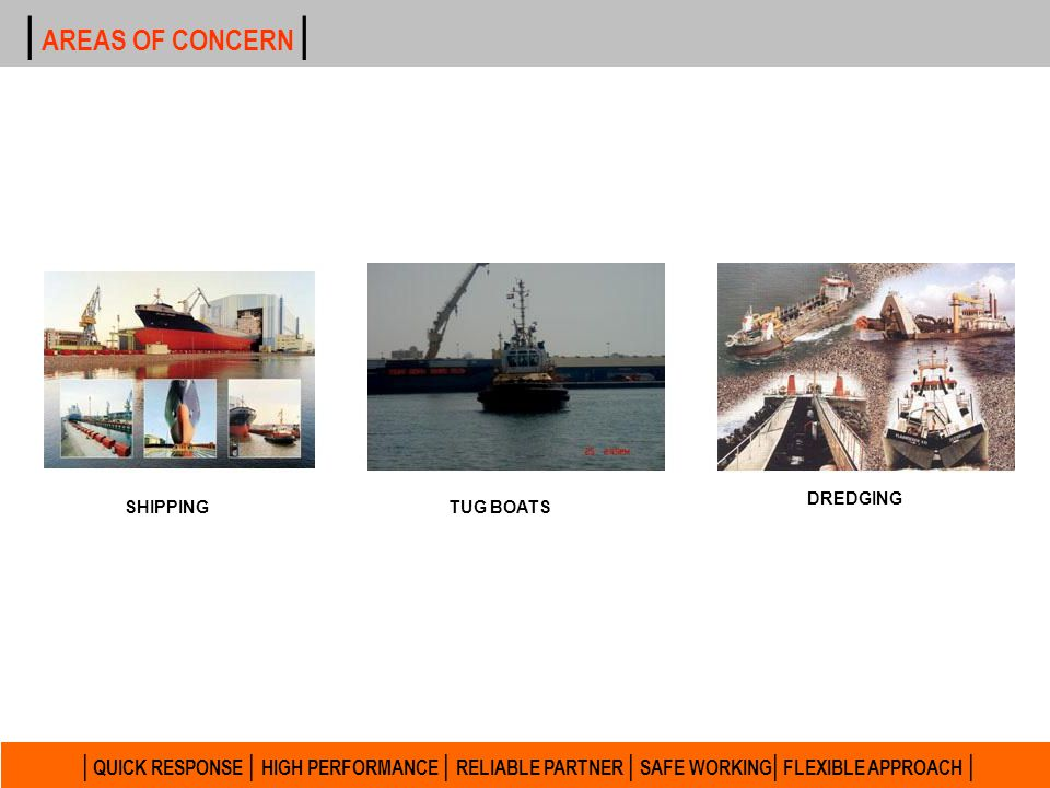 | AREAS OF CONCERN | DREDGING. SHIPPING. TUG BOATS.