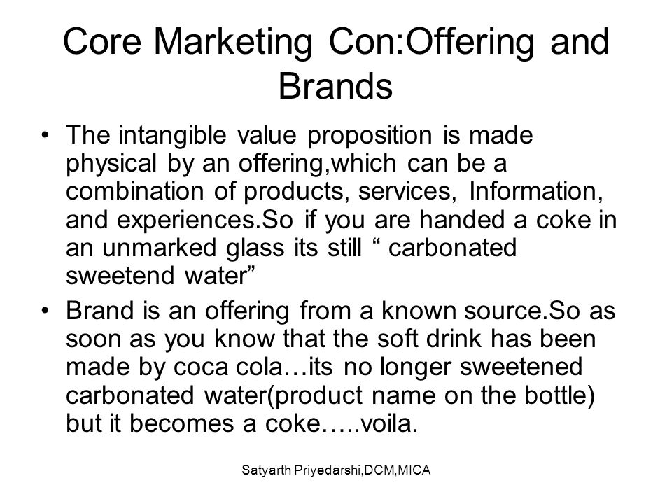 Core Marketing Con:Offering and Brands