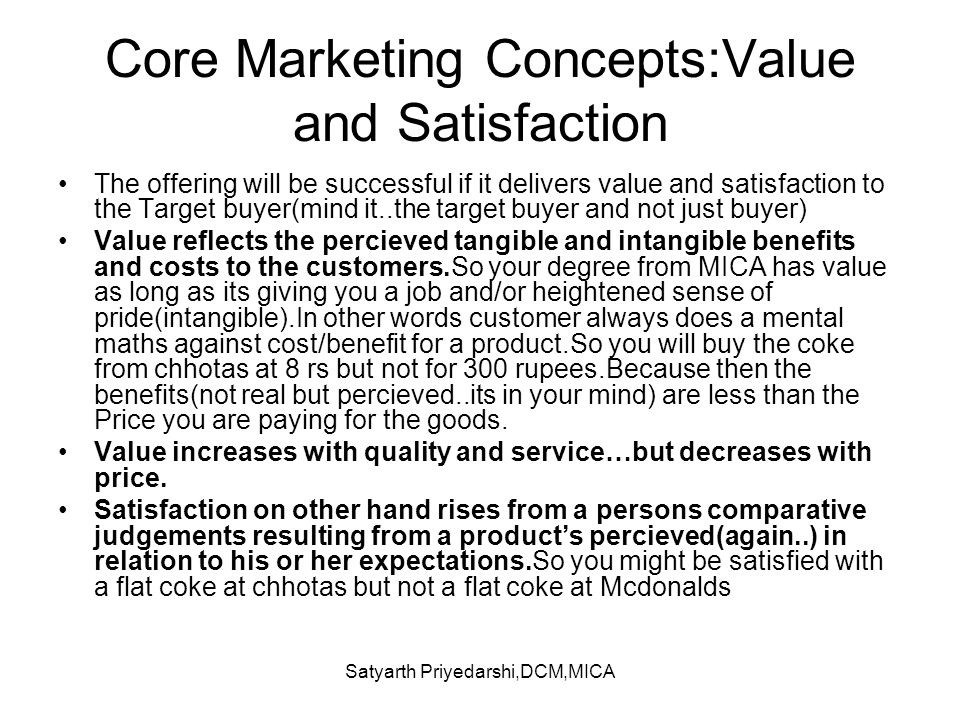 Core Marketing Concepts:Value and Satisfaction