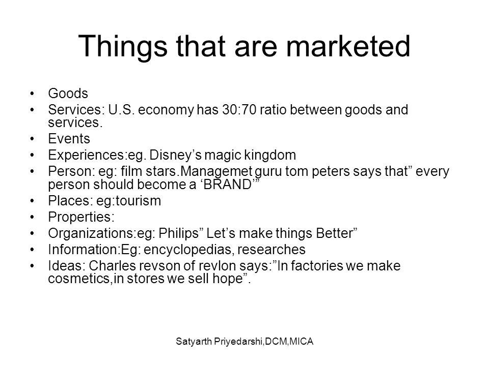 Things that are marketed