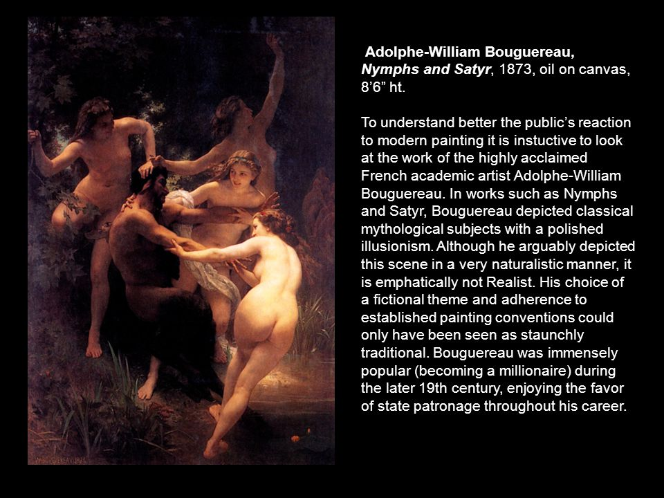 Adolphe-William Bouguereau, Nymphs and Satyr, 1873, oil on canvas, 8'6 ht.