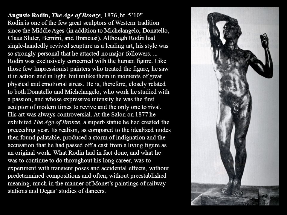 Auguste Rodin, The Age of Bronze, 1876, ht. 5'10