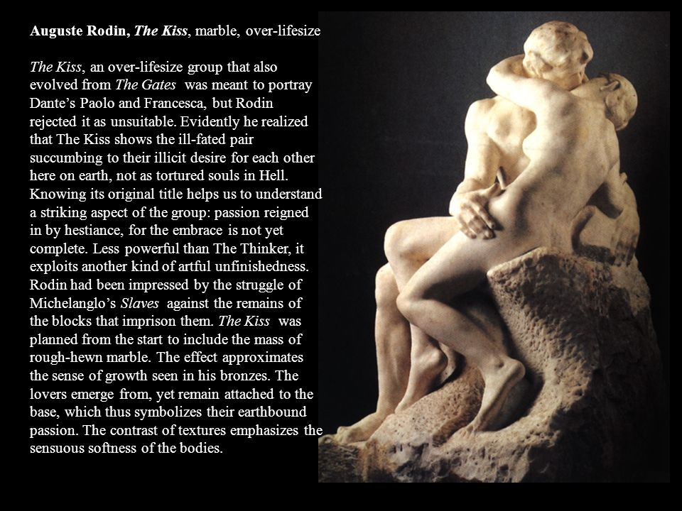 Auguste Rodin, The Kiss, marble, over-lifesize
