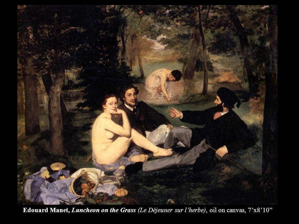 Edouard Manet, Luncheon on the Grass (Le Déjeuner sur l'herbe), oil on canvas, 7'x8'10