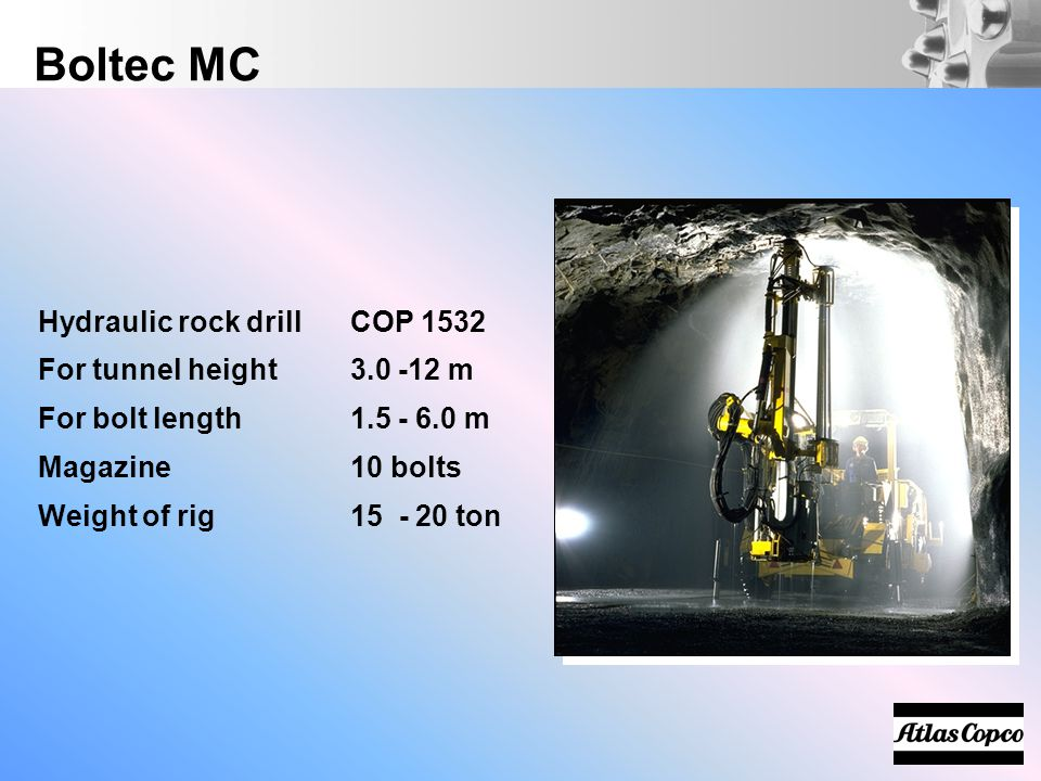 Boltec MC Hydraulic rock drill COP 1532 For tunnel height 3.0 -12 m